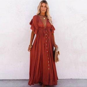 Rizo Red Boho Gauze Boho Button Flutter Maxi Dress